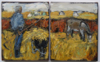 CHRISTINE THERY - Donkey Feed -  diptych oil on canvas - 25 x 40 cm with frame 35 x 49 cm - €520 - SOLD