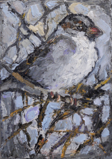 CHRISTINE THERY ~ Winter Sparrow - oil on canvas - 18 x 13 cm - €300